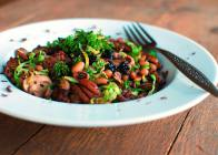 Black Eyed Peas, Mushrooms, and Brussels Sprouts Chiffonade with Chopped Blackberries and Mint Gremolata