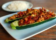Italian Tempeh and Sun-Dried Tomato Stuffed Zucchini